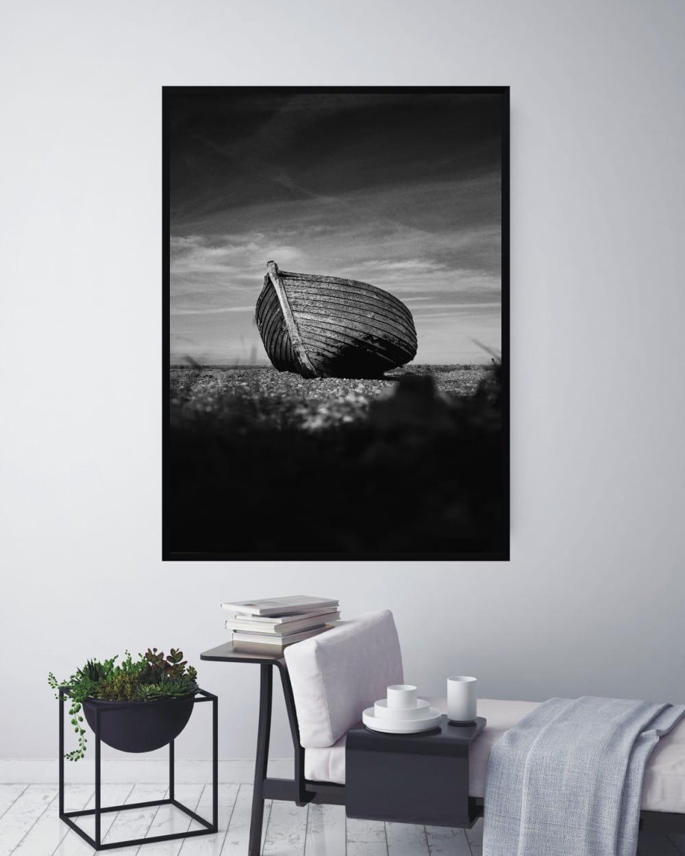 Plakat Skandynawski Drewniana łódź