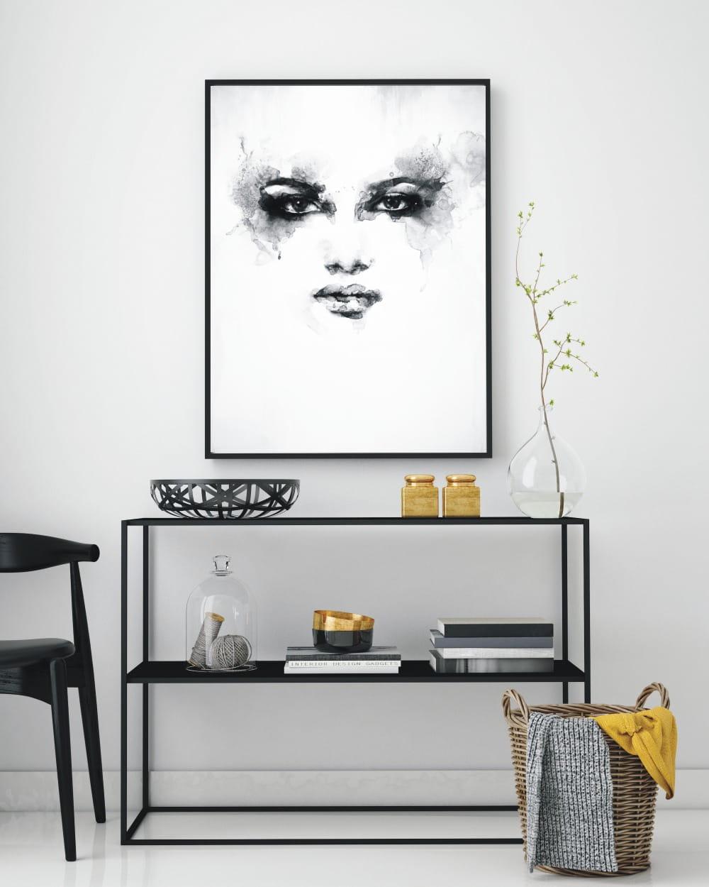 Plakat Czarno Biały Kobieta